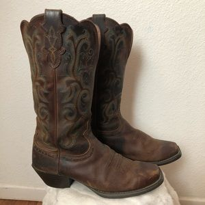 Justin Brown Leather Boots Size 8 b